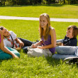 Teens sitting on lawn in park talking - Stockfoto