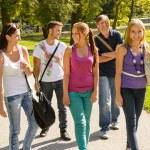 Students walking to school teens happy campus — Stock Photo