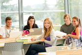 Student back to school in library study — Stock Photo
