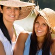 Mother and daughter relaxing outdoors summer teen — Stock Photo