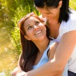 Mother holding her teen daughter in arms — Stock Photo