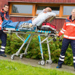 Paramedics with patient on stretcher ambulance aid — Stock Photo #13598054