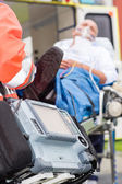 Emergency defibrillator patient ambulance — Stock Photo