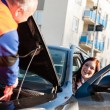 Car troubles woman starting broken vehicle — Stock Photo #13604034