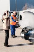 Car breakdown woman get help road-assistance man — Stock Photo