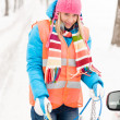 Woman winter car problems tire chains — Stock Photo