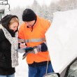 Woman fill document broken car snow mechanic — Stock Photo #13814423