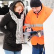 Woman fill document broken car snow mechanic — Stock Photo