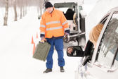 Woman broken car man gas can snow — Stock Photo