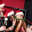 Christmas party friends have fun at bar — Stock Photo #16954679