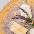 Provence style aromatherapy lavender cosmetic products — Stock Photo