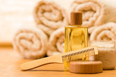 Spa body care products wooden hair comb — Stock Photo