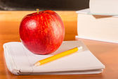 Academic education traditional student's desk — Stock Photo