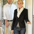 Man and woman happy in train travel — Stock Photo