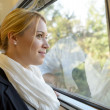 Woman man looking out the train window — Stock Photo
