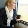 Woman looking out the train window pensive — Stock Photo #17417379