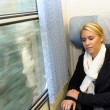Stock Photo: Womsleeping in train compartment tired resting