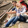 Woman resting on man's shoulder backpack travel — Stock Photo