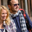Stock Photo: Couple traveling by backpack smiling together trip