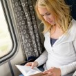 Woman traveling by train and reading book — Stock Photo