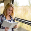 Woman reading a book by train window - Stock Photo