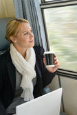 Woman traveling looking out the train window — Stock Photo