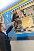 与火车的人告别夫妇离开的女人 — 图库照片