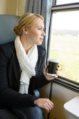 Woman looking out the train window pensive — Stok fotoğraf