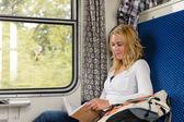 Kadın gülümsüyor banliyö tren kitap okumak — Stok fotoğraf