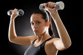 Fitness woman young sportive weights exercise — Stock Photo