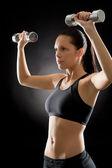 Fitness kadın egzersiz ağırlık siyah — Stok fotoğraf