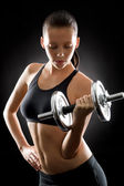 Black fitness woman young sport weights exercise — Stock Photo