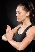 宁静瑜伽与闭着眼睛的女人 — 图库照片