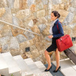 Smiling woman business going traveling baggage leaving — Stock Photo