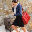 Traveling businesswoman hurried rushing climbing baggage carry-o - Stock Photo