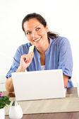 Smiling woman shopping internet home finances banking — Stock Photo