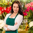 Young woman florist flower shop owner business — Foto de Stock