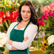 Young woman florist flower shop owner business — Foto Stock