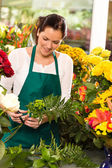 Young florist preparing flowers bouquet shop store — Stock Photo