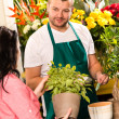 Smiling male florist selling potted plant flower — Stock Photo