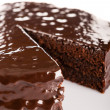 Sacher cake with chocolate icing topping - Stock Photo