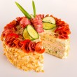 Savory pastry dessert salami pie appetizer almond - Stock Photo