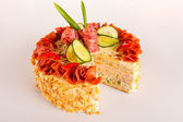Savory pastry dessert salami pie appetizer almond — Stock Photo