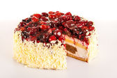 Dessert light creamy cake with red berries — Stock Photo