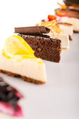 Slice of cake selection delicious tart choice — Stockfoto