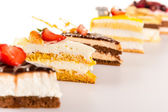 Cake selection close-up of tart slice dessert — Stock Photo
