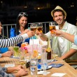 Group of young friends drinking beer outdoors — Stockfoto #22893252