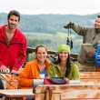 Friends hikers relax rest place mountain view — Stock Photo