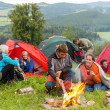 Royalty-Free Stock Photo: Sitting by campfire friends in tents chatting