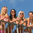 Stock Photo: Beautiful women in bikinis smiling with drinks